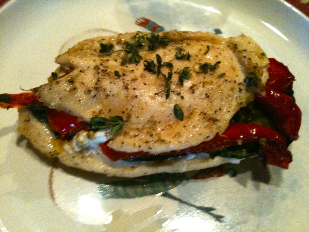 Goat Cheese, Basil & Roasted Red Pepper Stuffed Chicken Breasts (1/6)