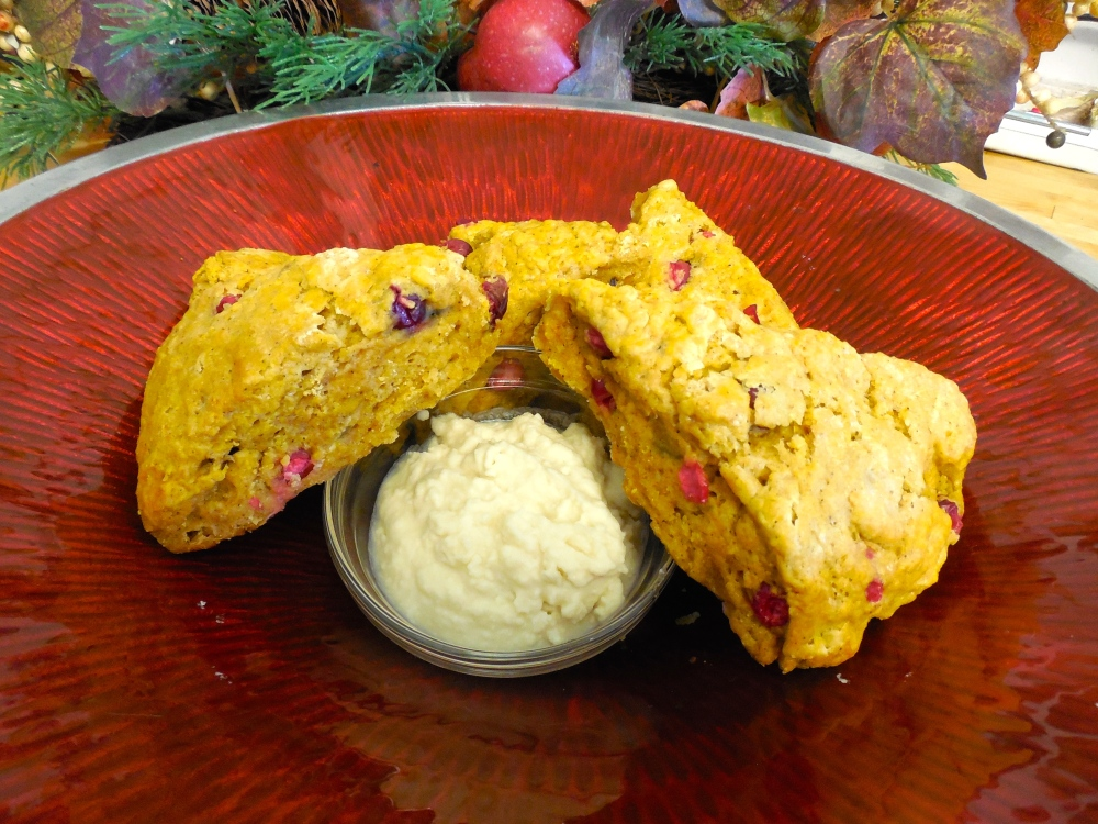 Thanksgiving Morning: Cranberry and Pumpkin Scones with Whipped Maple Butter (1/2)